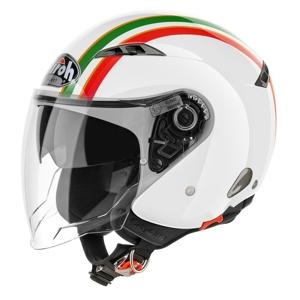 Moto prilba Airoh City One Style biela/zelená/červená - XS (53-54)