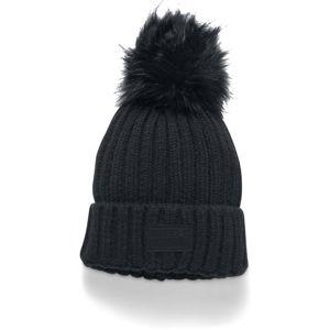 Dámska pletená čiapka Under Armour Snowcrest Pom Beanie BLACK / BLACK / BLACK - OSFA