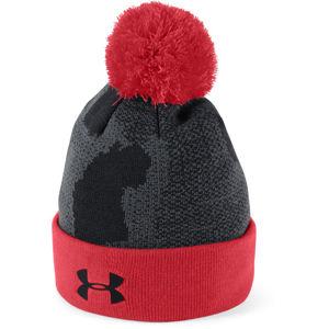 Chlapčenská čiapka Under Armour Boy's Pom Beanie Upd Black / Red / Black - OSFA