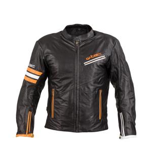 Kožená moto bunda W-TEC Brenerro Black-Orange-White - XXL