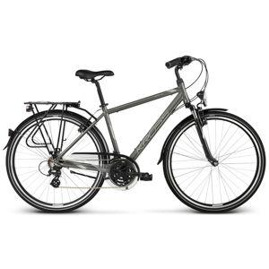 """Pánsky trekingový bicykel Kross Trans 2.0 28"""" - model 2020 grafitová/šedá/stříbrná - M (19'') - Záruka 10 rokov"""