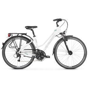 "Dámsky trekingový bicykel Kross Trans 4.0 28"" - model 2020 bielo-zelená - M (17"") - Záruka 10 rokov"